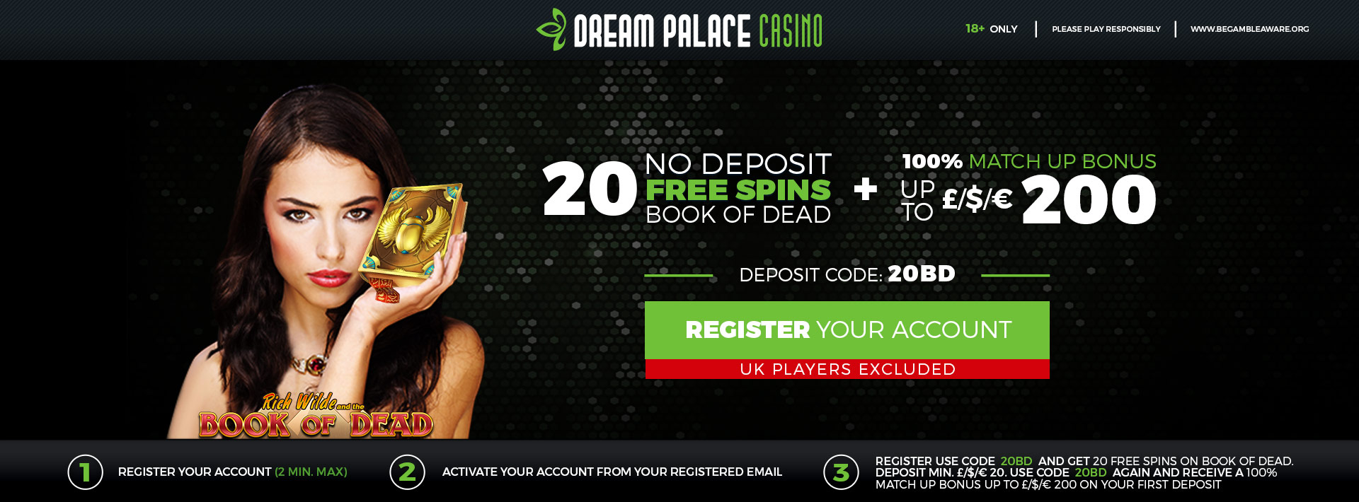 100% up to 200 + 20 No Deposit Free Spins
